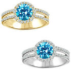 1.75 Carat Diamond BlueTopaz GemStone Halo 14K White/Yellow Gold Engagement Ring