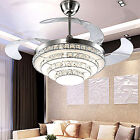 LED crystal invisible ceiling fan light modern dining room fan chandelier lamp