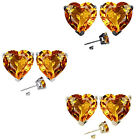 6mm Heart CZ Citrine Birth Gemstone Stud Earring Strling Silver 14k Gold Plated