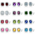 6mm Select Birthstone Gem Stud Halo Solitaire Cushion Silver Earring