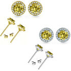 6mm Citrine Birthstone Gem Stud Halo Solitaire Round Silver Earrings