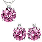 Pink Topaz Round Gem Stone Set Pendant Earring 14K White Yellow Gold Diamond