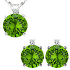 Peridot Round Birth Gem Stone Set Pendant Earring 14K White Yellow Gold Diamond