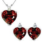 Garnet Heart Birth Gem Stone Set Pendant Earring 14K White Yellow Gold Diamond