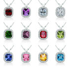 6mm Cushion Cut Select Your Birth Gem stone Silver Halo Pendant Necklace + Chian