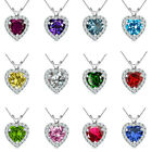 "6mm Heart Select Birth Gem Stone Silver Pendant Necklace 18"" Chian"