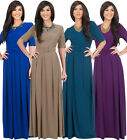 NEW Womens Half Sleeve Cross Over Maxi Dress with Waist Belt S M L XL 2X 3X