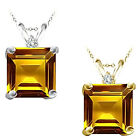 0.01 Carat TCW Diamond Princess Citrine Gemstone Pendant 14K White Yellow Gold