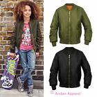 New Kids Girls Retro MA1 Flight Classic Bomber Biker Vintage Jacket Ages 7-13