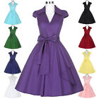 Women Vintage Retro Shirt Style Party Evening Dress Swing Prom Cocktail Evening