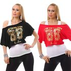 Double Look Shirt Tunika Bluse Longtop Neon Oberteil Schulterfrei One Shoulder