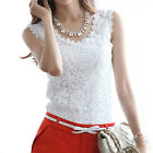 Summer Women Blouse Lace Shirts Vintage Sleeveless Crochet Casual Shirts Tops