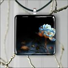 FLOWER BLUE AND WHITE ROSE SQUARE PENDANTS NECKLACE MEDIUM OR LARGE -asd4Z