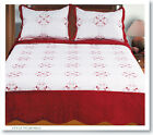 3 Pcs Embroidery 100% Cotton Fill Quilt Set Bedding Bedspread coverlet 6 colors
