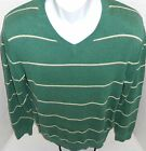 BANANA REPUBLIC Men's Green Striped Vee Neck Sweater Size XL