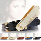 New Women's Crocodile Buckle Belts Slim Thin Waist Strap Leather Belt Waistband