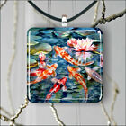 koi fish asian style paint PENDANTS NECKLACE MEDIUM OR LARGE -re34