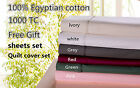 1000TC 100%Egyptian Cotton Quilt cover 2 pillowcase set King Queen Double