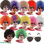 AFRO WIG + AVIATOR SUNGLASSES Mens Ladies curly clown fancy dress 1970s 70s 60s