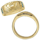 0.25 Carat Blue Diamond Hand Heart Design Man Novelty Ring 14K Two Tone Gold