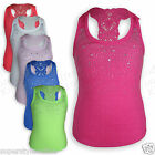 Girls Vest Top Ribbed Crochet Racer Back Kids Last few left Bargain Age 1-2 3-4