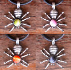 Spider insect W Orb Stone Glass Magic Pagan Witchcraft Protection Pewter Pendant