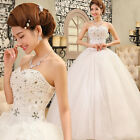 White Luxury Beaded Lace Up Wedding Dresses Bridal Gowns Ball Gown Size S-XXL