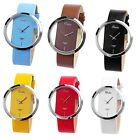 Women's Fashion Lady Transparent Dial Analog Quartz Leather Wrist Watch