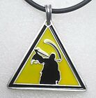 GRIM REAPER Death Caution traffic waring road sign Pewter Pendant Gothic Angel
