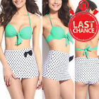 Womens Bandeau White Teal Polka Dot High Waist Vintage Retro Push-Up Bikini S-XL $9.99 USD on eBay