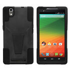 For ZTE ZMAX Z970| Hybrid Hard Bumper Stand Case Black