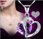 Charming Heart-Shape Crystal Rhinestone Chain Silver Necklace For Lover Gift