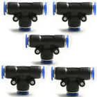 5X PBT Pneumatic Push to Connect Tubing 6mm to 6mm Tee Quick Lock Fitting OD