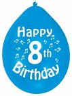 """Happy 8th Birthday 9"""" Party Latex Balloons Mixed Colours CHOOSE QUANTITY"""