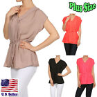 (PLUS SIZE) Blouse Solid Color Capped Sleeve V-Neck Waist Tie Top B329 SD_M