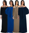 NEW Womens Versatile Strapless Shoulderless Draped Long Maxi Dress S M L XL 2X