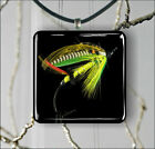 FLY FISHING GREEN HIGHLANDER FLY FOR SALMON PENDANTS NECKLACE M - L - XL -bp8u
