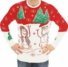 Adult Jumper Ugly Christmas Sweater Holiday Snowman & Trees Flashing LED Lights