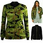 Womens Ladies MA1 Canvas Biker Celebrity Camouflage Army Bomber Jacket Size 8-14