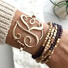 Monogram Script Letter Initial Preppy Bangle Bracelet Gold Silver - USA Seller