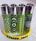 #125 Classic Clipper Lighter Translucent Green 420 Weed Ganja Print Single/set
