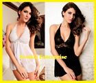 Lacie Halter Babydoll White Black Floral Lace Sexy Lingerie Ladies Women Teddy