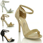 Womens Stiletto Strappy Heels Ladies Diamante Party Ankle Strap Sandals Shoes