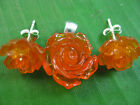 925 sterling silver synthetic amber rose design studs earrings + pendant set