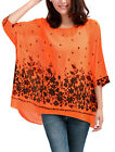Allergra K Lady Batwing Sleeve Floral Prints Semi Sheer Chiffon Oversize Shirt