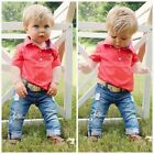 2pcs Toddler Kids Baby Boy Clothes Polo Shirt Tops+Denim Jeans Pants Outfits Set