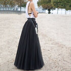 90cm Maxi Long Skirts 3 Layers Shirt Mesh Pleated Women Flared Tutu Skirts new 1