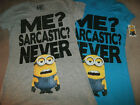 Despicable ME Juniors *S* Teal Gray 'Me? Sarcastic? Never' Minion Face Glitter