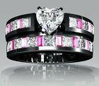 Heart Shaped Natural White Sapphire Black Gold Filled Engagement/wedding set