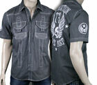 AFFLICTION Men's METAL MERCY button down shirt woven embroidered 110WV023